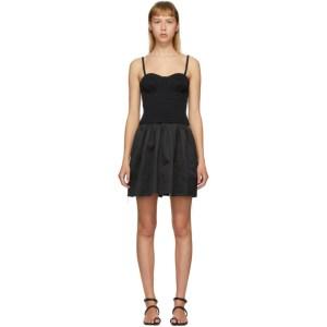 Marina Moscone Black Smocked Bustier Tunic Dress