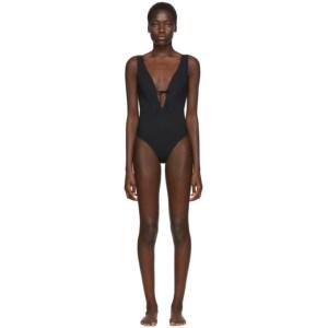 Rudi Gernreich Black Plunge One-Piece Swimsuit