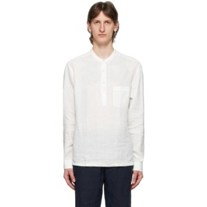 Z Zegna White Collarless Half-Buttoned Shirt
