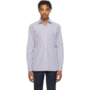 Ermenegildo Zegna Blue and White Camicia Trofeo Shirt