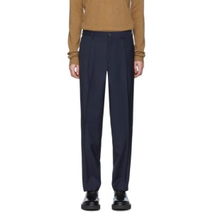 Etro Navy Wool Tailored Trousers