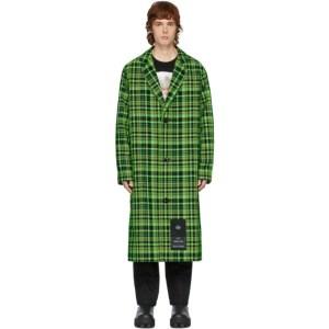 S.R. STUDIO. LA. CA. Green Open-Weave Check Trench Coat