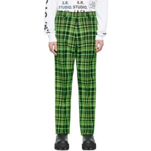 S.R. STUDIO. LA. CA. Green Open-Weave Check Trousers