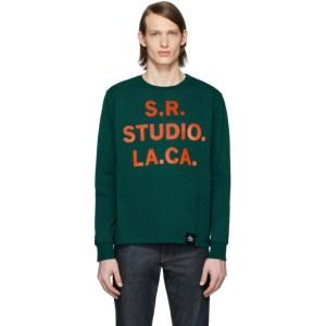 S.R. STUDIO. LA. CA. Green S.R.S. Logo and Vampire Sunrise Basic Long Sleeve T-Shirt