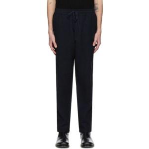 Barena Navy Linen Botto Trousers