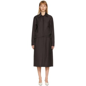 Eftychia Brown Standing Placket Harrington Jacket
