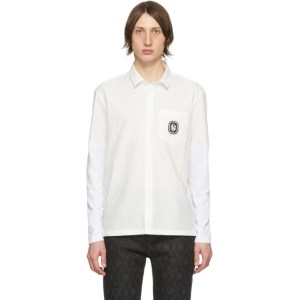 Neil Barrett White Cotton Sleeve Linen Shirt