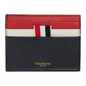 Thom Browne Navy Double Sided Note Compartment Card Holder