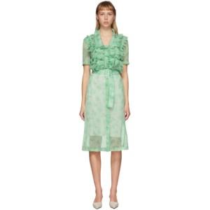 Commission SSENSE Exclusive Green Ruffle Shirt Dress