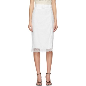Commission SSENSE Exclusive White Lace Pencil Skirt