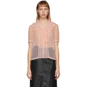 Commission SSENSE Exclusive Pink Ruffled Short Sleeve Shirt