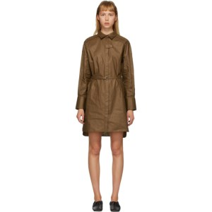 Partow Brown Coated Linen Helena Shirt Dress