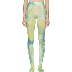 Versace Green and Blue Tie-Dye Tights