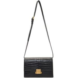 Saint Laurent Black Croc Bellechase Satchel Bag