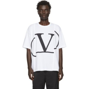 Valentino White Deconstructed VLogo T-Shirt