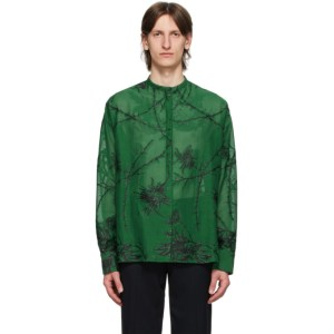 Haider Ackermann Green Embroidered Oversized Shirt