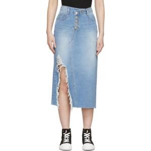 SJYP Blue Denim Destroyed Skirt