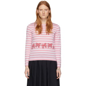 Comme des Garcons Girl Pink and White Disney Edition Stripe Ribbons T-Shirt