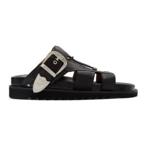 Toga Virilis Black Tumbled Leather Sandals