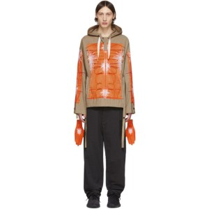 Craig Green SSENSE Exclusive Khaki and Orange Cagoule Embroidered Hoodie