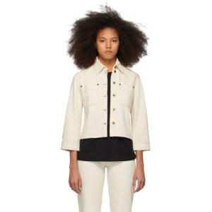 Victoria Victoria Beckham Off-White Denim Cropped Sleeve Jacket