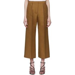 Victoria Victoria Beckham Tan Double Cloth Cropped Chino Culottes
