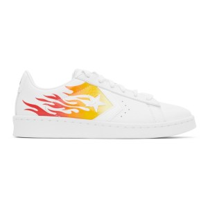 Converse White Flame Pro Leather OX Sneakers