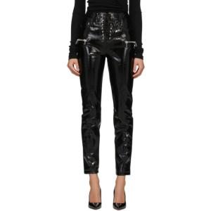 Unravel Black Vinyl Lace-Up Trousers