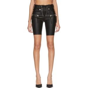 Unravel Black Plonge Leather Corset Shorts