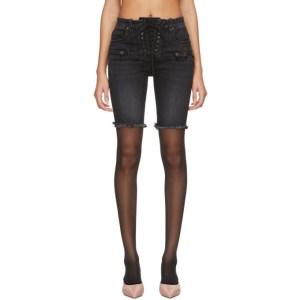 Unravel Black Denim Lace-Up Cyclist Shorts