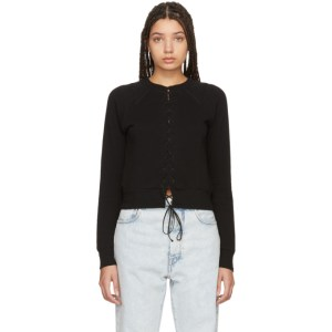 Unravel Black Lace-Up Sweatshirt