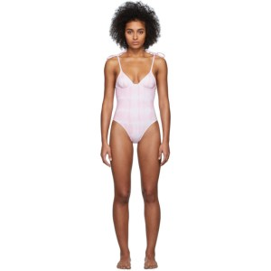 Solid and Striped Pink and White Tie-Dye The Olympia One-Piece Swimsuit