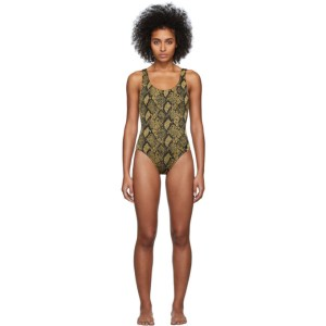 Solid and Striped Black and Gold The Anne-Marie One-Piece Swimsuit