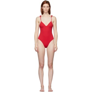 Solid and Striped Reversible Red The Olympia One-Piece Swimsuit