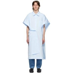 Hed Mayner Blue Cotton Square Long Shirt