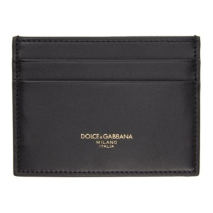 Dolce and Gabbana Black Leather Logo Card Holder