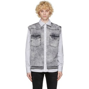 Dolce and Gabbana White and Grey Denim Vest Shirt