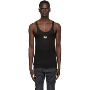 Dolce and Gabbana Black Embroidred Logo Tank Top