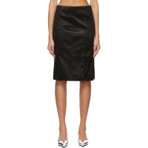 Kwaidan Editions Black Bonded Satin Faceted Mid-Length Skirt