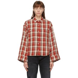 R13 Red Oversized Sleeve Cropped Shirt