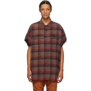 R13 Red and Black Oversize Cut-Off Shirt