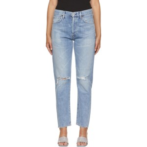 Citizens of Humanity Blue Liya High-Rise Distressed Classic Fit Jeans