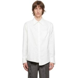 Sulvam White Oxford Right Embroidered Shirt