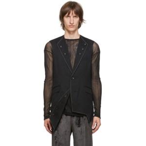 Sulvam Black Wool 3-Lapel Vest