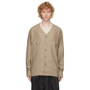 House of the Very Islands Brown Wool V-Neck Shirt