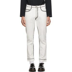 Daniel W. Fletcher Off-White Painted Edge Jeans