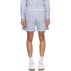 Daniel W. Fletcher Blue and White Striped Oxford Shorts