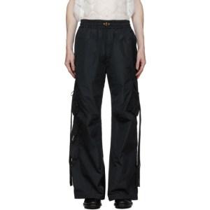 Palomo Spain Black Nylon Cargo Pants