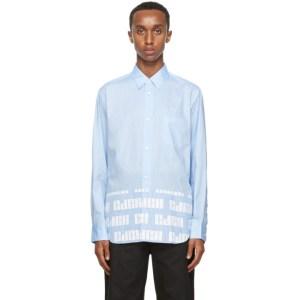 Comme des Garcons Homme Blue Striped Logo Hem Shirt