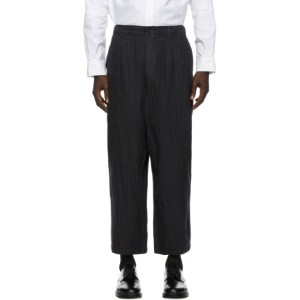 Comme des Garcons Homme Grey Wool Herringbone Stripe Trousers